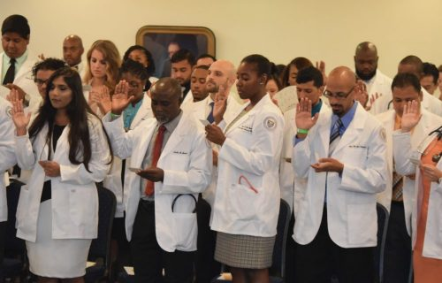 White coat ceremony at caribbean medical school