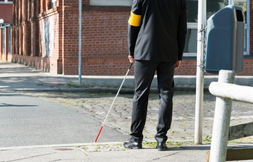 blind man with a stick